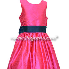 Navy and shock pink silk flower girl dresses