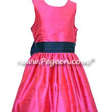 Navy and shock pink silk flower girl dresses