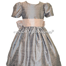 Silver Gray and Ballet Pink Custom Silk Flower Girl Dresses