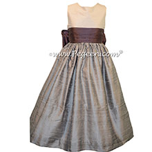 SILVER GRAY AND IRIS FLOWER GIRL DRESSES
