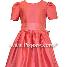 Lollipop Coral and Gumdrop Pink Jr. Bridesmaids Dresses