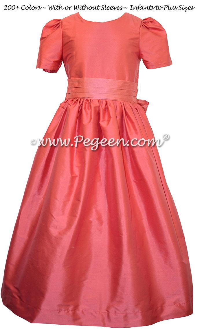 Lollipop (coral) and Gumdrop (pink) Jr. Bridesmaids Dresses