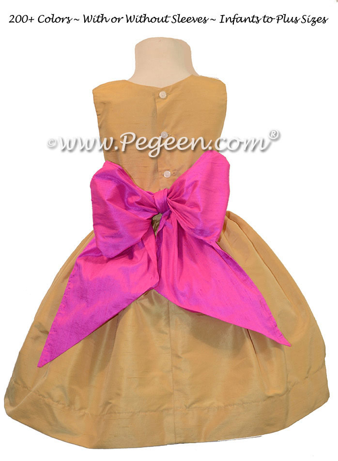 Flower Girl Dress in striking colors of Spun Gold and Cerise Pink | Pegeen