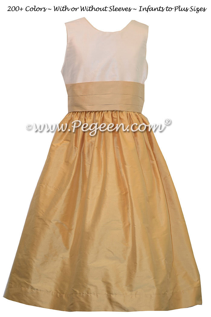 Spun Gold and Pure Gold Silk Flower Girl Dresses