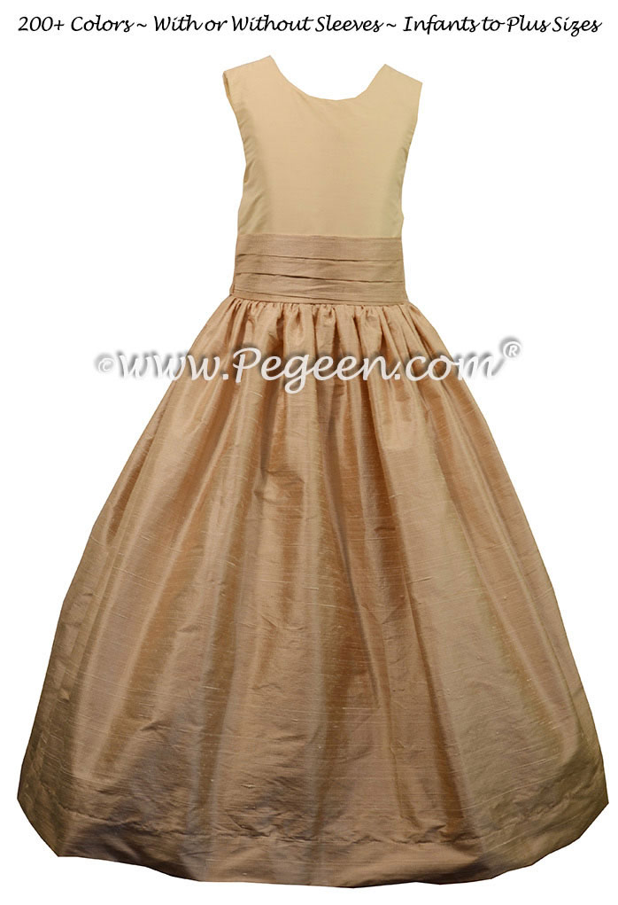 Custom Silk Flower Girl Dress Style 398 in Toffee and Bisque  | Pegeen