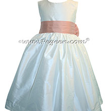 Antique White and Peach Custom Silk Flower Girl Dresses