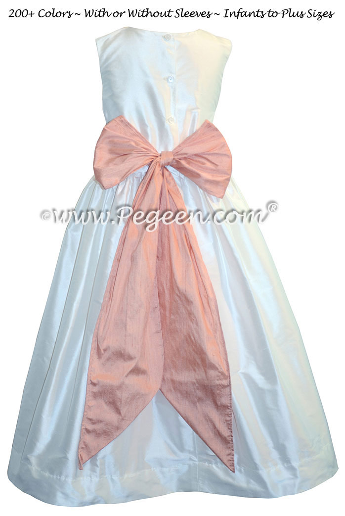 Antique White and Peach Custom Silk Flower Girl Dresses