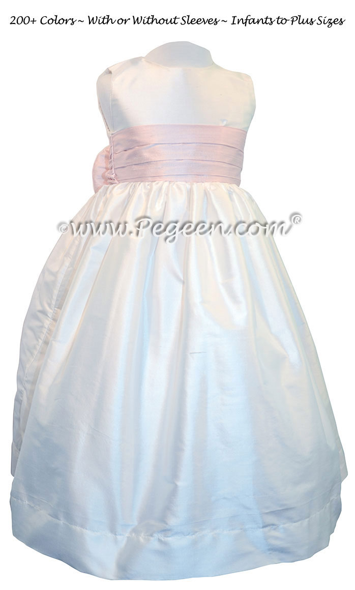 Ballet Pink and White custom silk flower girl dresses with silk bow