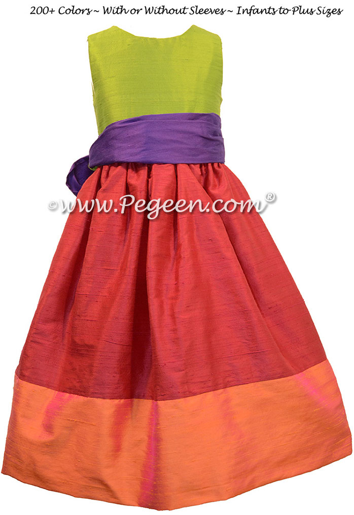 Mango, Lipstick Pink, Grass Green and Royal Purple flower girl dresses in silk style 404