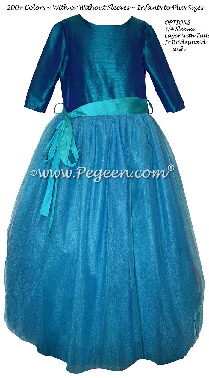 Peacock and Turquoise Tulle Flower Girl Dress with 3/4 sleeves