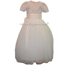 Aloncon Lace and Summer Tan Tulle Flower Girl Dresses