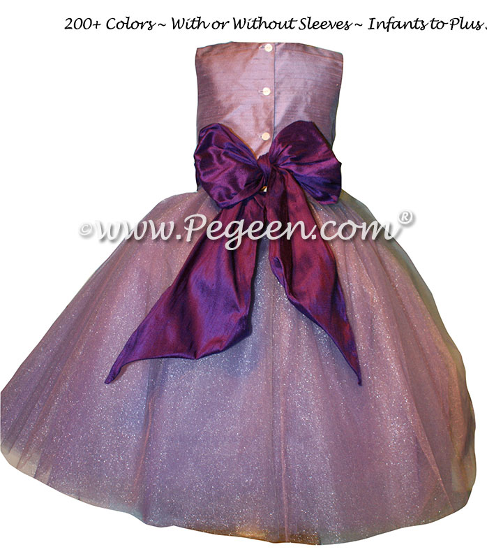 Amethyst and Deep Plum Silk Tulle ballerina style Flower Girl Dresses