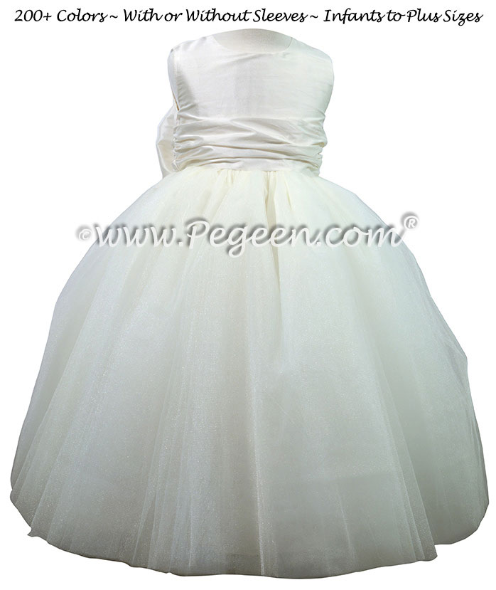 Couture Style Antique White Silk Flower Girl Dresses