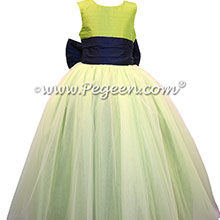 Grass Green and Navy Blue Silk and Tulle Flower Girl Dresses