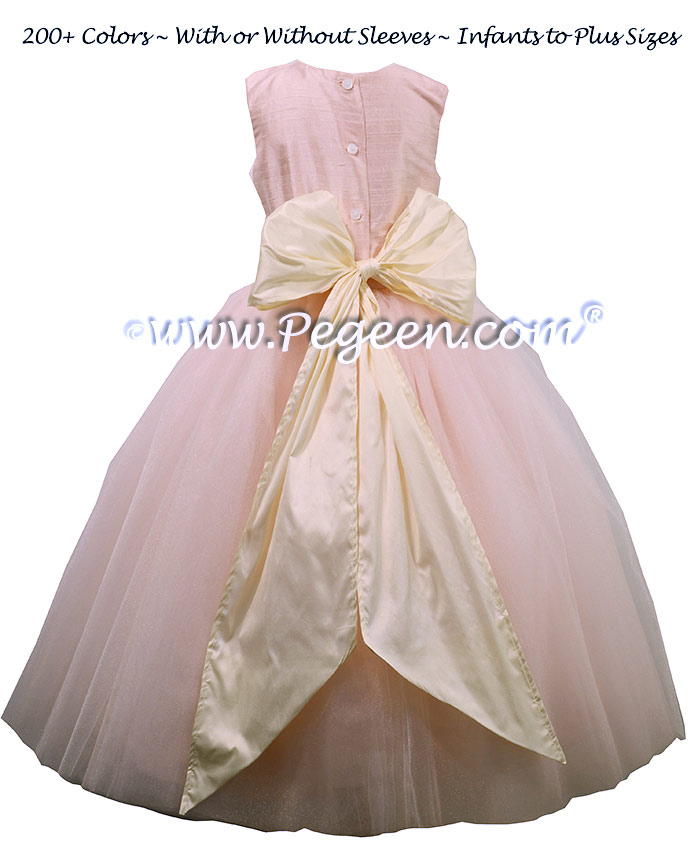 Flower Girl Dresses with Tulle, Pink silk ballerina style ~ Couture Style 402 | Pegeen