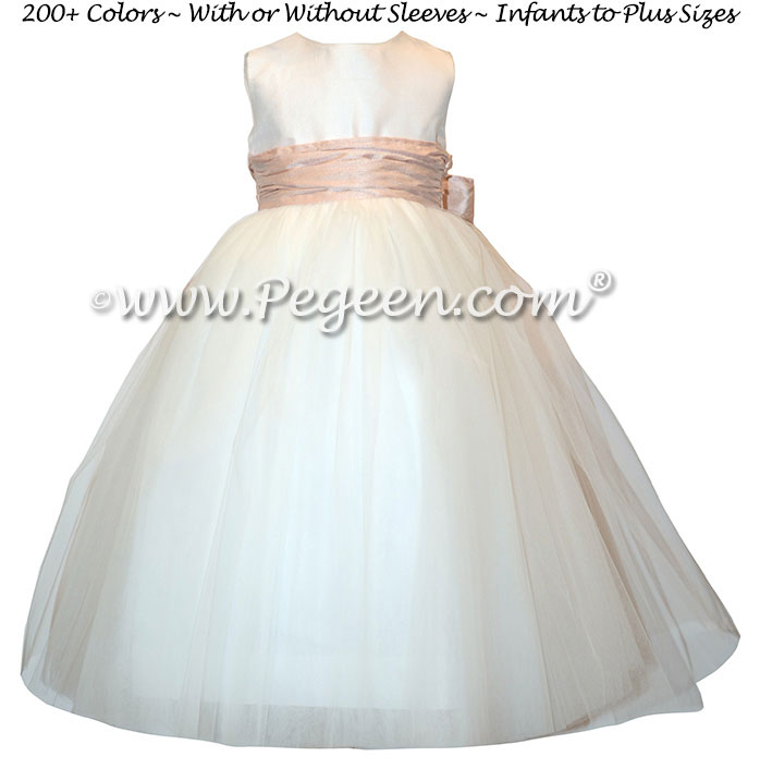 Couture Style Antique White and Ballet Pink Silk Flower Girl Dresses