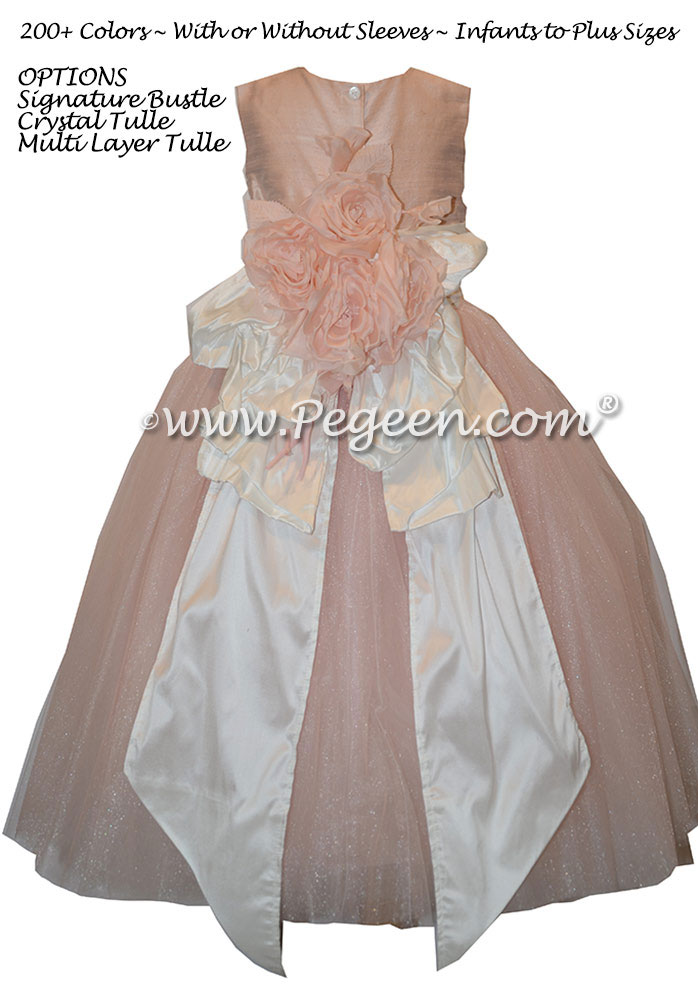 Flower Girl Dress Style 402 in Ballet Pink, White Silk and Tulle | Pegeen