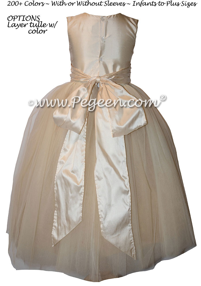 Bisque and New Ivory Silk and Tulle Flower Girl Dresses with Multi Color Tulle | Pegeen