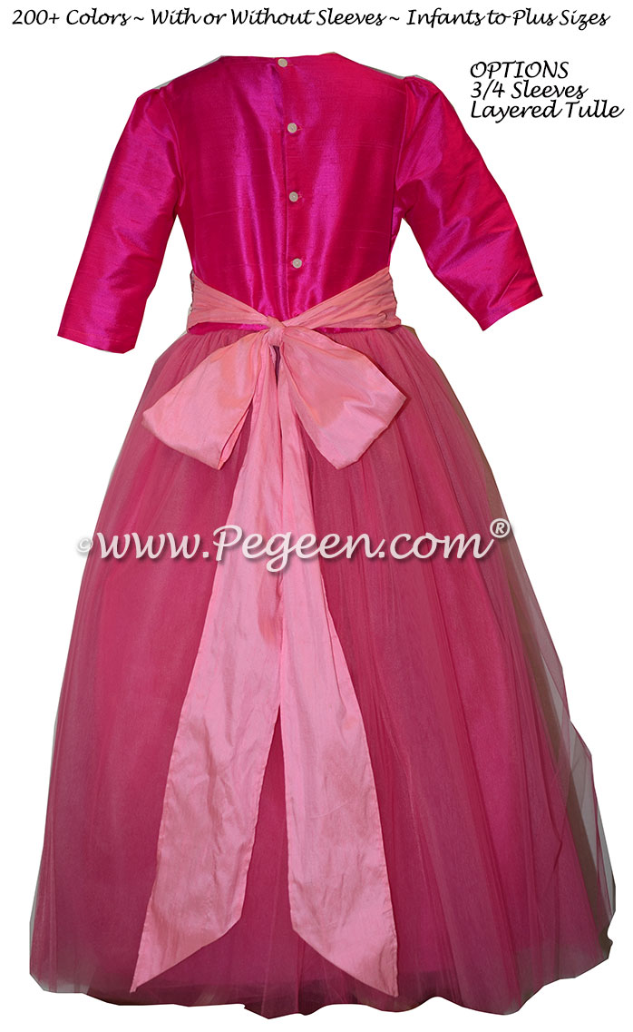 Boing Hot Pink and Bubblegum 3/4 Sleeves Tulle Flower Girl Dresses | Pegeen