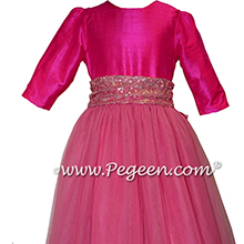 Boing Hot Pink and Bubblegum 3/4 Sleeves Tulle Flower Girl Dresses
