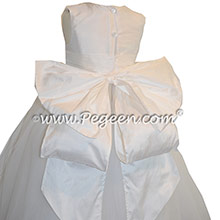 ballerina style Flower Girl Dresses with Cinderella Sash in Antique White - Style 402