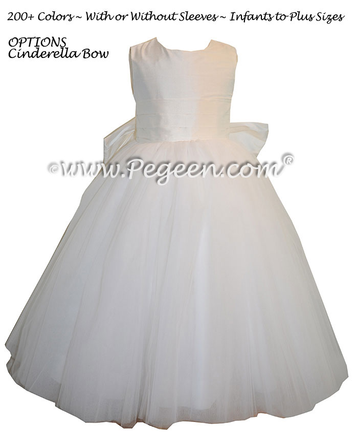 First Communion or Flower Girl Dresses with Cinderella Sash in Antique White