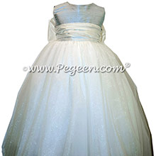 Cloud Blue and New Ivory ballerina style Flower Girl Dresses with layers and layers of tulle