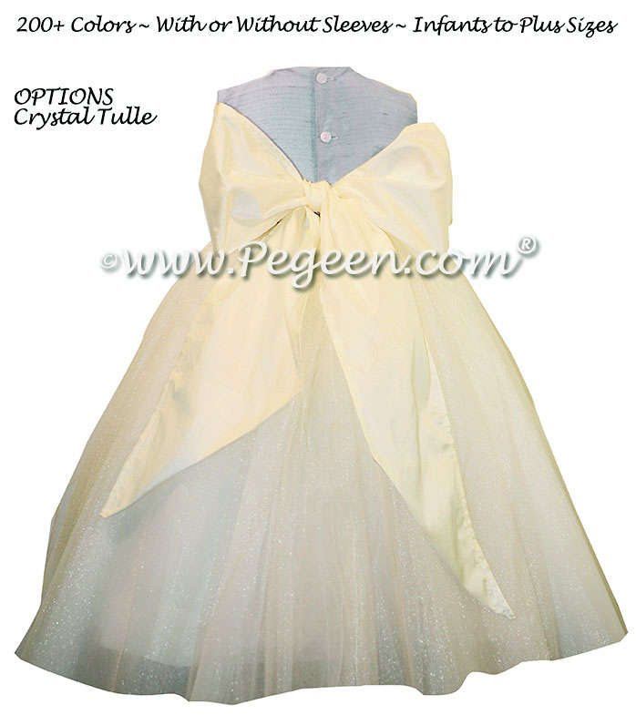 Cloud Blue and New Ivory White BLUE ballerina style Flower Girl Dresses with layers and layers of tulle