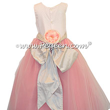 Coral and Platinum Gray Ballerina style flower girl dresses with pink tulle and platinum silver sash – Pegeen Couture Style 407