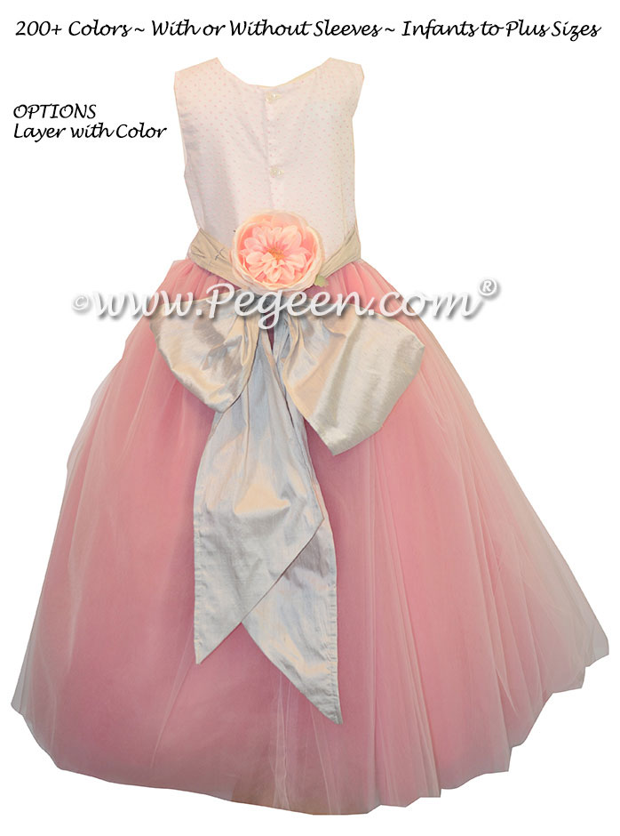 Ballerina style flower girl dresses with pink tulle and platinum silver sash – Pegeen Couture Style 407