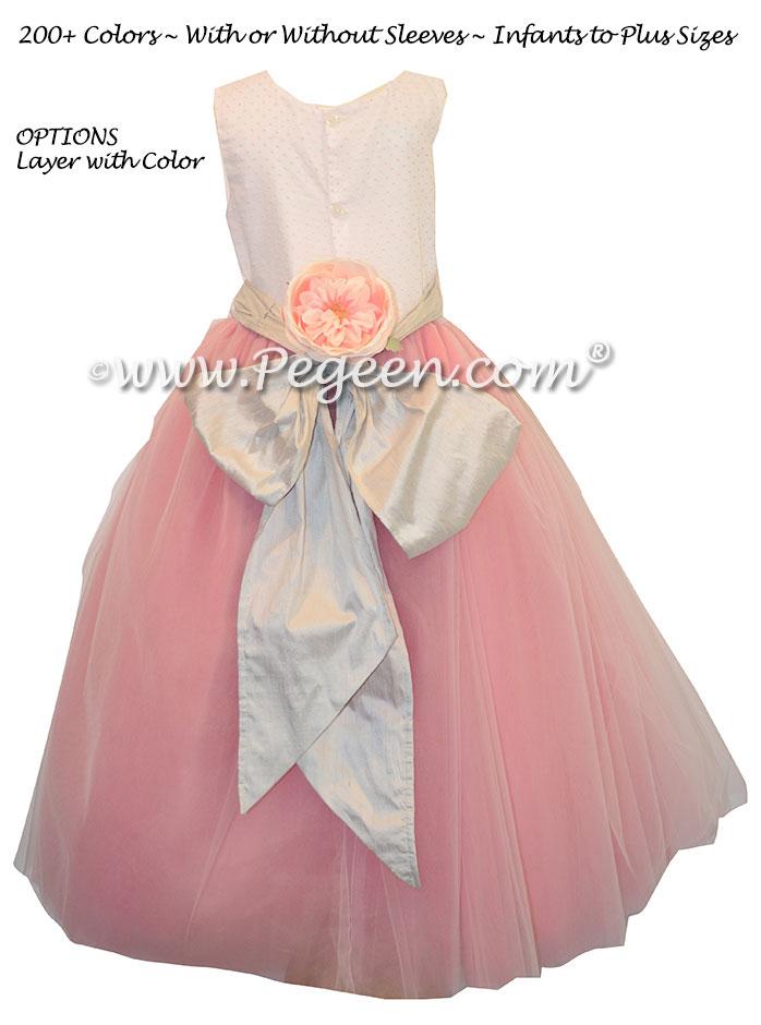 Pink tulle and platinum sash ballerina flower girl dresses pegeen ballerina style flower girl dresses with pink tulle and platinum silver sash pegeen couture style mightylinksfo