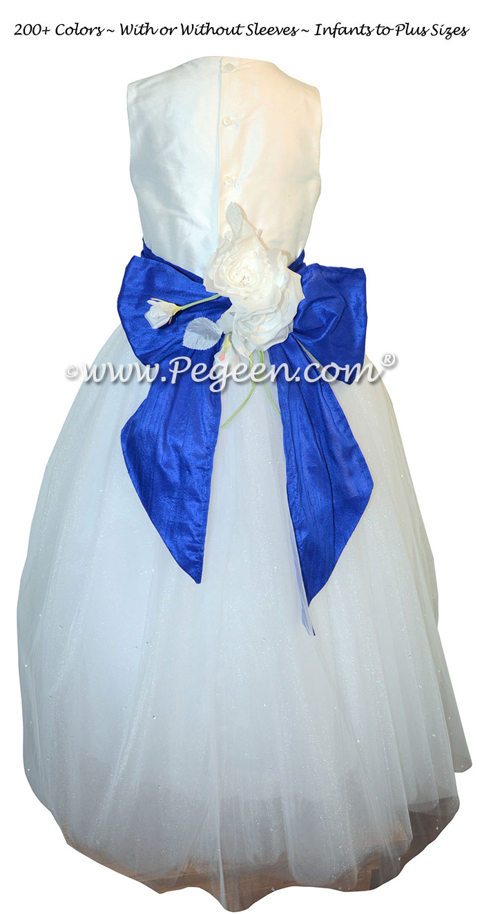 Flower Girl Dress in White and Sapphire with Swarovski Crystals and tulle | Pegeen