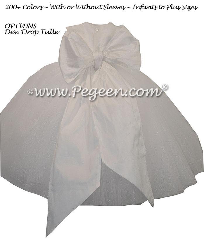 Antique White Silk and Tulle ballerina style FLOWER GIRL DRESSES