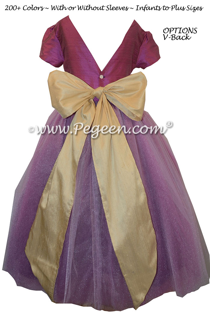 Flower Girl Dresses with layers of tulle in Thistle (plum) and Pure Gold   Pegeen