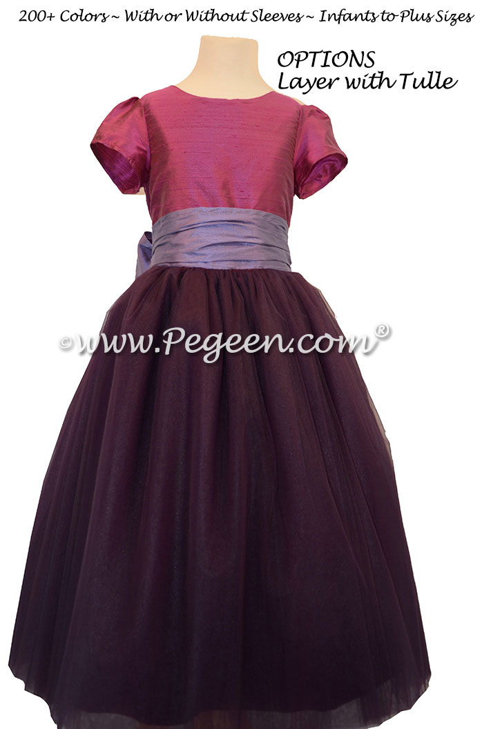 Shades of purple and periwinkle ballerina style Flower Girl Dresses with layers and layers of tulle