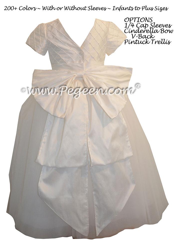 ballerina style Flower Girl Dresses with Cinderella Sash in Antique White