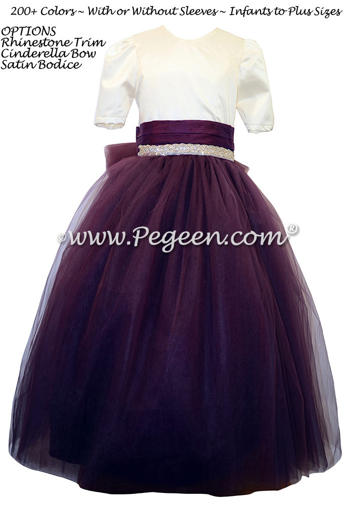 Flower girl dress in Eggplant and Ivory with rhinestones and tulle | Pegeen