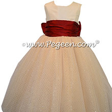 Spun Gold and Claret Red Glitter tulle ballerina style flower girl dresses