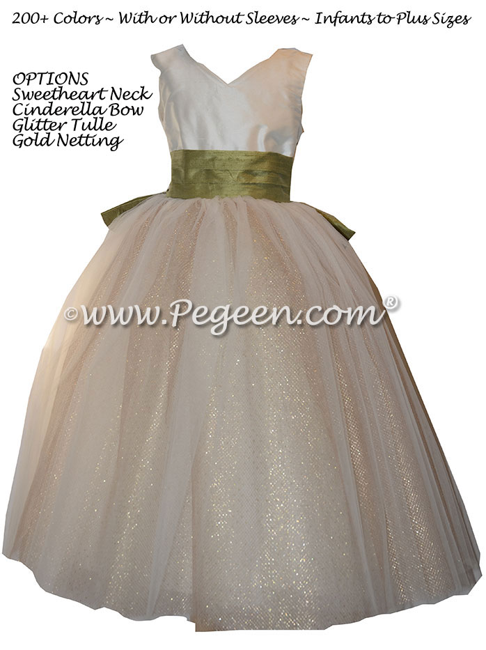 Sage Green and Metallic Gold Accented Skirt Silk custom Flower Girl Dresses Style 402