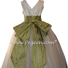 Silk and Tulle FLOWER GIRL DRESSES in Sage Green and Metallic Tulle - Style 394 | Pegeen