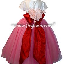 Gumdrop pink, red and ivory ballerina style flower girl dress with layers and layers of tulle