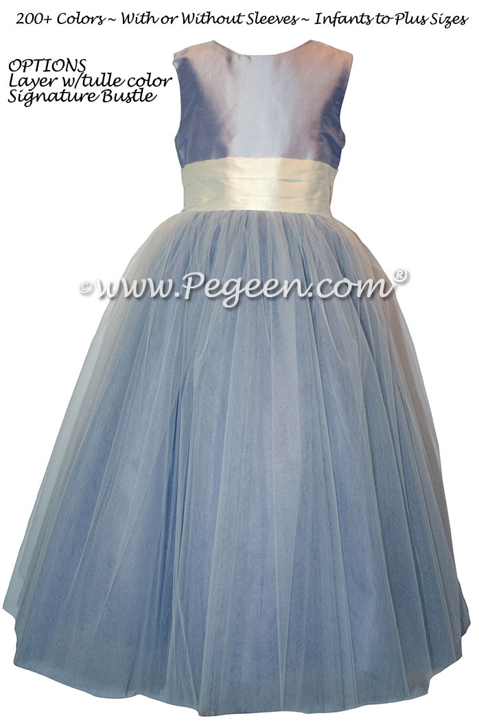 Flower Girl Dress in Lavender Tulle with Pegeen Signature Bustle