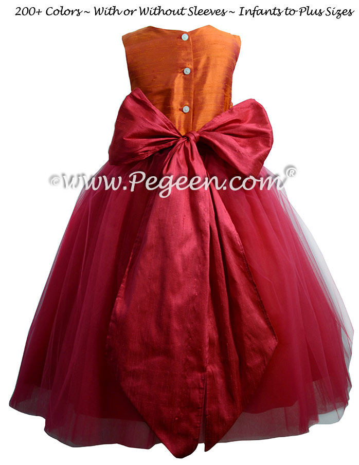 Cherry red and Mango  ballerina style FLOWER GIRL DRESSES with layers and layers of tulle