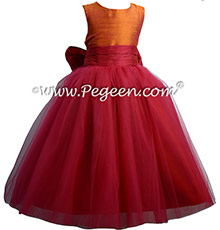 Cherry red and Mango ballerina style FLOWER GIRL DRESSES with layers and layers of tulle by Pegeen