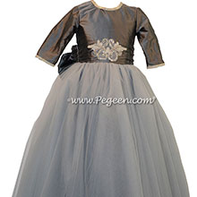 Medium Gray and Rhinestones ballerina style Flower Girl Dresses with tulle