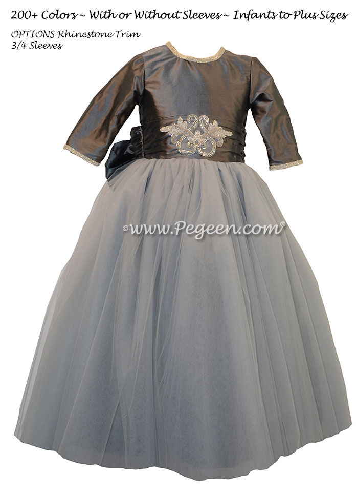 Flower Girl Dresses in Medium Gray and Rhinestones with tulle | Pegeen