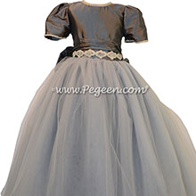 Medium gray silk flower girl dresses with Rhinestone Trim at the Waist