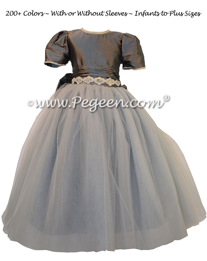 Medium gray silk flower girl dresses with Rhinestone Trim at the Waist