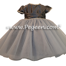 Medium gray silk Flower Girl Dresses with Rhinestone Trim