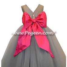 Morning Gray and Shock Pink Silk Flower Girl Dresses